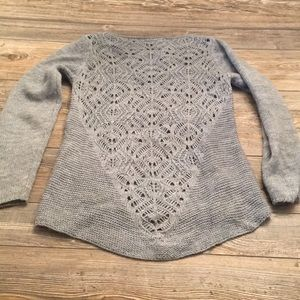 Tunic Length Open Back Grey Sweater